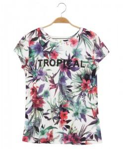 Przewiewna bluzka letnia WPO-8363 biel i kwiaty