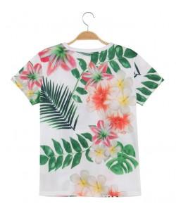 Sportowa bluzka siateczkowa WPO-8419 biel w kwiaty