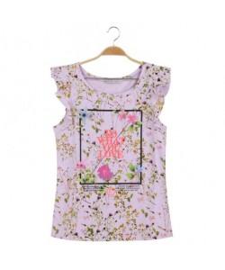 Fioletowy modny top z nadrukiem WPO-7917