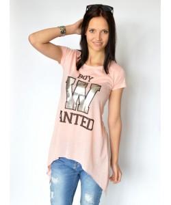 Damski trapezowy t-shirt różowy boy01