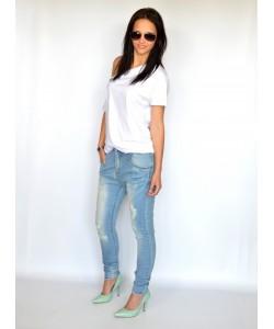 Kobiece jeansy baggy BG12 niebieskie