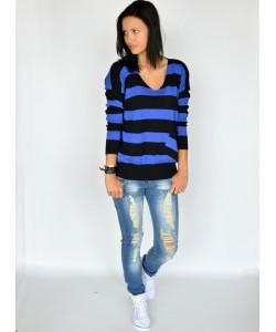 Dwukolorowy sweter w paski ODW07 niebieski