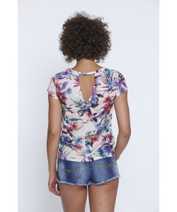 Tropikalny t-shirt letni WPO-8363 łosoś i kwiaty