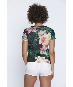 Przewiewna bluzka z siateczki WPO-8419 czerń w kwiaty