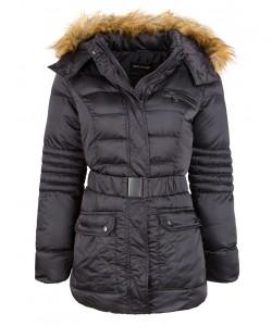 Zimowa pikowana kurtka z paskiem WMA-9877