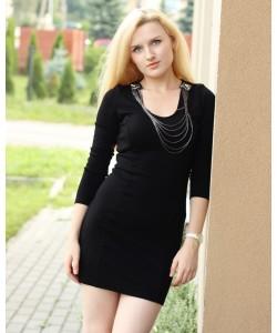 Sukienka z łańcuszkami RS23 Czerń