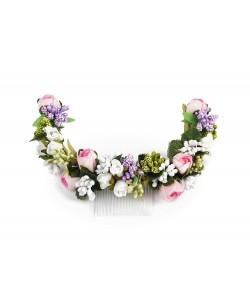 Półwianek ślubny, stroik, kolorowy, na grzebyku, half-wreath, sklep