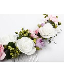 Półwianek ślubny, stroik, na grzebyku, half-wreath, sklep, webshop