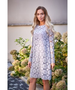 Damska sukienka z koronki szara