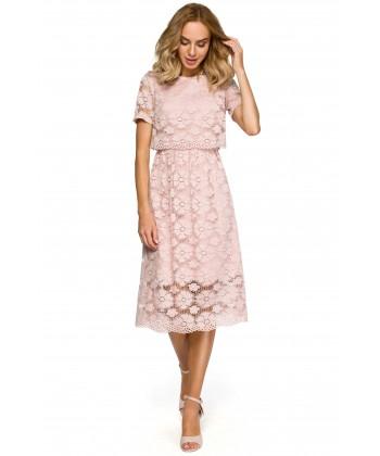 120feb136f Eleganckie sukienki wizytowe w kolorze pudrowego różu