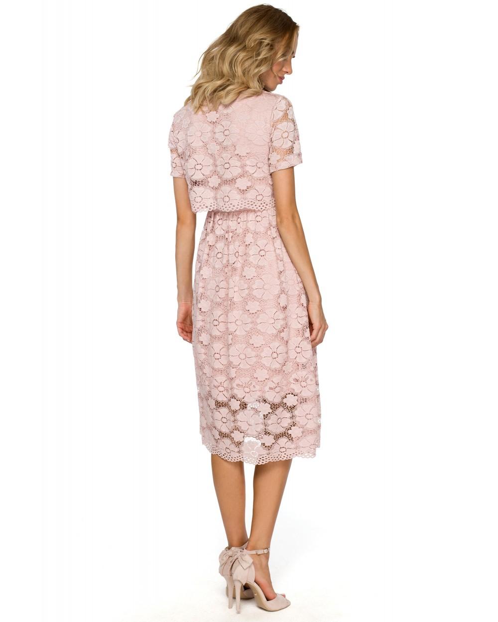 741cb2053 ... Eleganckie sukienki wizytowe w kolorze pudrowego różu tył