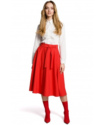 Rozkloszowana spódnica midi czerwona