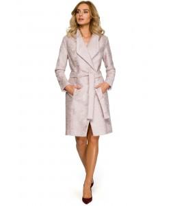 Damski płaszcz wiosna jesień różowy z paskiem