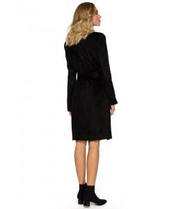Płaszcz damski czarny z paskiem na jesień i wiosnę