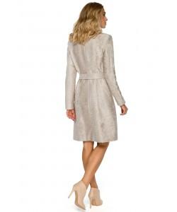 Płaszcz damski w kolorze beżowym z paskiem na jesień i wiosnę