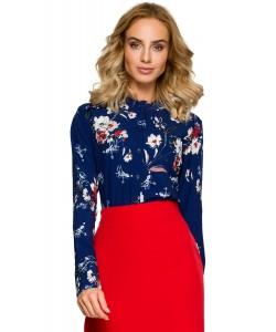 Bluzki damskie w kwiaty koszulowe do biura