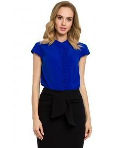 Bluzka damska chabrowa elegancka z krótkim rękawem