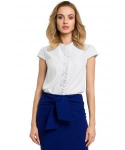 Damska bluzka z krótkim rękawem ecru do biura