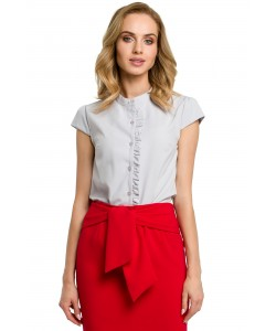 Bluzka damska z krótkim rękawem szara do biura