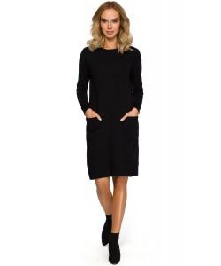 Damska sukienka dresowa czarna z kieszeniami