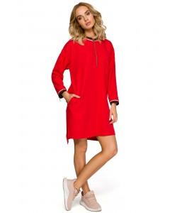 Sukienka damska sportowa czerwona asymetryczna