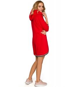 Sukienka damska sportowa czerwona z kapturem