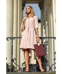 Sukienka damska różowa elegancka rozkloszowana