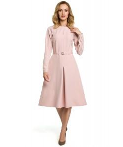 Sukienka damska elegancka różowa midi z długim rękawem