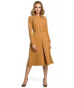 Sukienka damska żółta cynamonowa midi rozkloszowana