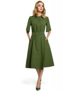 Sukienka damska midi elegancka rozkloszowana zielona