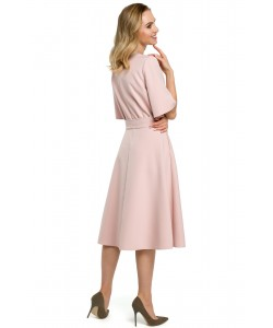 Sukienka damska elegancka midi różowa z paskiem