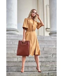 Sukienka damska elegancka żółta cynamonowa