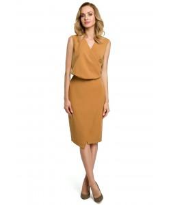 Sukienka damska elegancka w kolorze cynamonowym