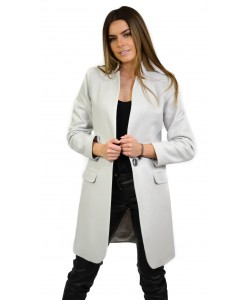 Płaszcz damski w kolorze szarym taliowany