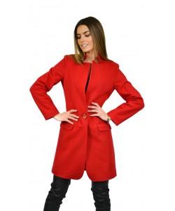Płaszcz damski czerwony elegancki wiosenny
