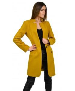 Płaszcz damski żółty musztardowy klasyczny wiosenny