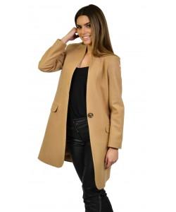 Płaszcz damski beżowy klasyczny o prostym fasonie