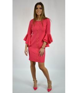 Sukienka damska elegancka z falbanami na rękawach