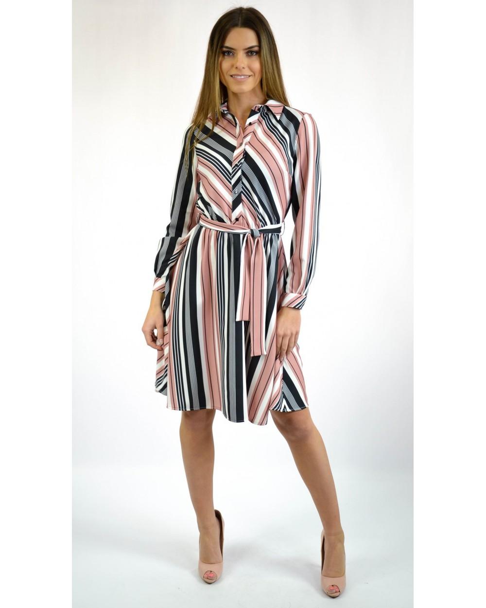 915e84ab30 Sukienka damska w paski z koszulową górą na co dzień sklep online