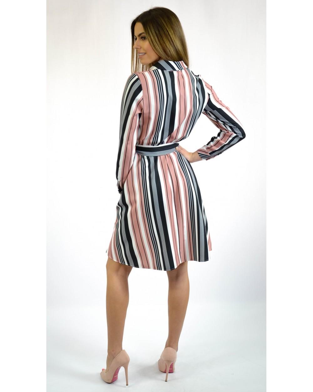 ff03875af8 Sukienka damska w paski z koszulową górą na co dzień sklep online
