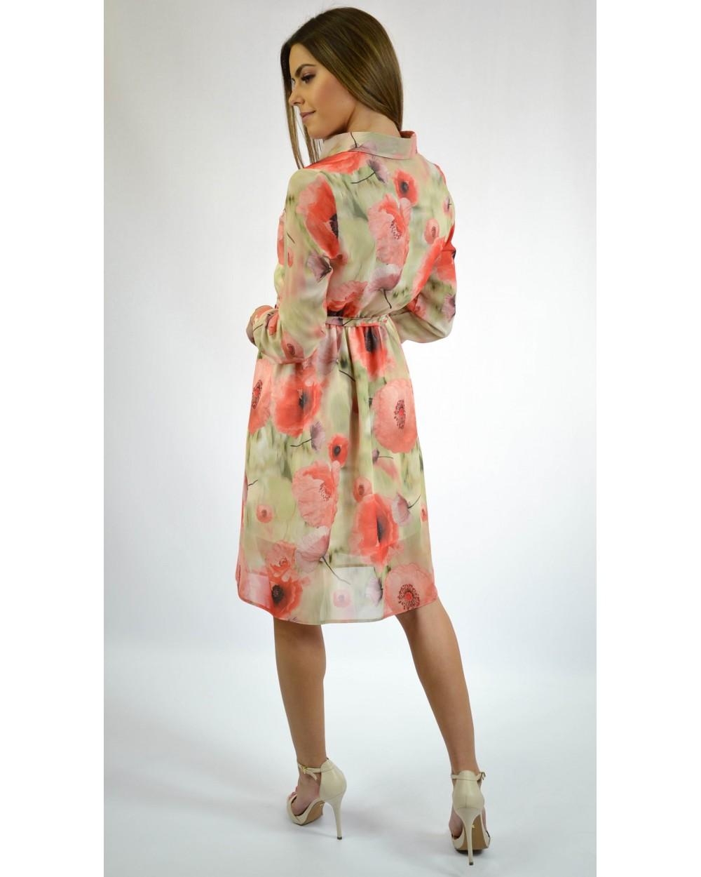 739a0052a0 Sukienka damska w kwiaty z długim rękawem pomarańczowa sklep online