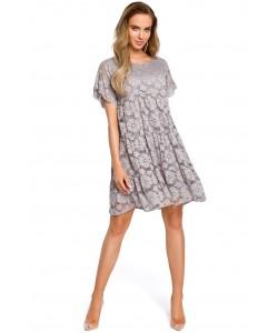 Sukienka damska z szarej koronki wizytowa elegancka