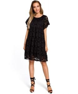 Sukienka damska z czarnej koronki wizytowa na wieczór