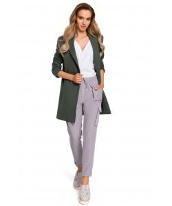Żakiet damski długi dwurzędowy w kolorze khaki