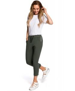 Spodnie damskie khaki z dzianiny dresowej sportowe