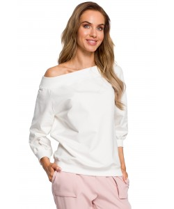Bluza damska ecru z dzianiny dresowej na co dzień