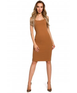 Sukienka damska na lato karmelowa brązowa ołówkowa