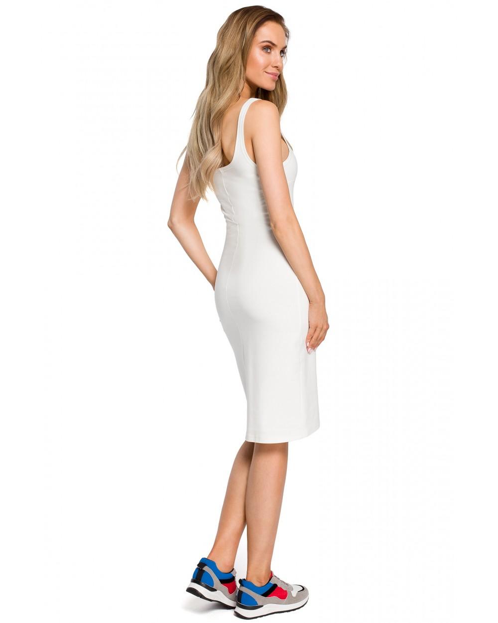 430a6179 Sukienka damska bawełniana w kolorze ecru dopasowana sklep online