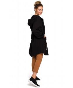 Bluza damska długa czarna z kapturem sportowa