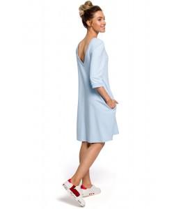 Sukienka damska oversize dresowa na co dzień błękitna